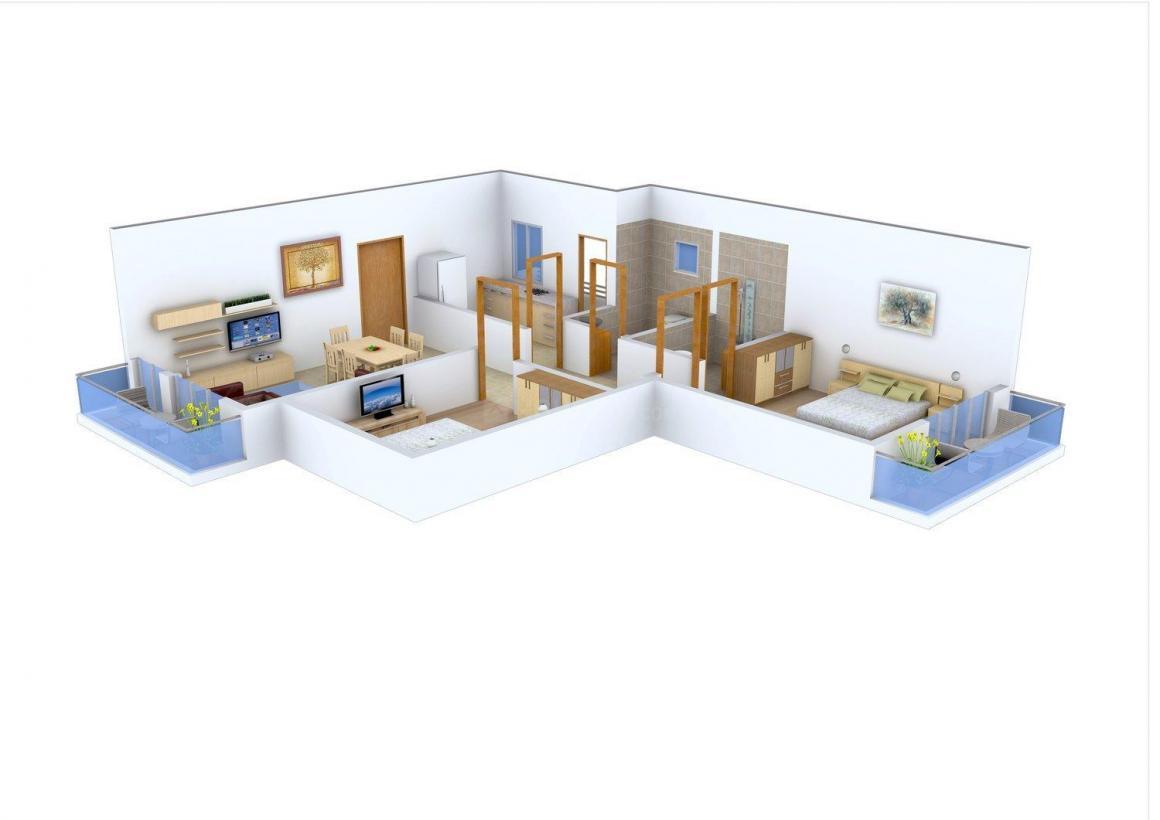 Floor Plan Image of 1030.0 - 1350.0 Sq.ft 2 BHK Apartment for buy in Watan Residency