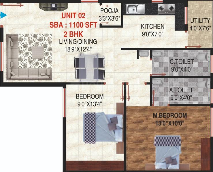 RAV Sri Sayuktha Enclave Floor Plan: 2 BHK Unit with Built up area of 1100 sq.ft 1