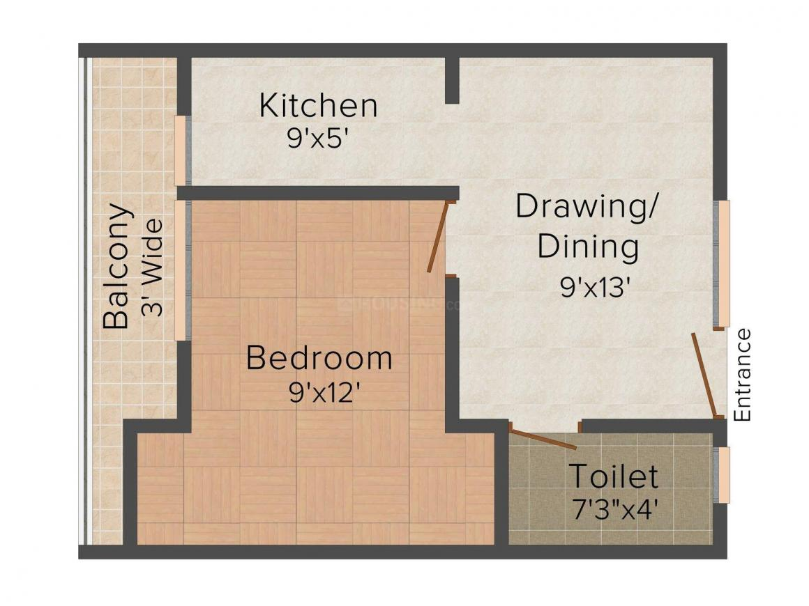 Mastro Residency Floor Plan: 1 BHK Unit with Built up area of 650 sq.ft 1