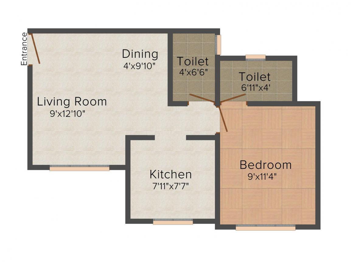 Floor Plan Image of 574.0 - 687.0 Sq.ft 1 BHK Apartment for buy in Patel's Prayosha