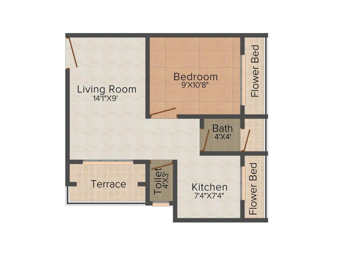 Floor Plan Image of 610 - 840 Sq.ft 1 BHK Apartment for buy in Tejas Parth