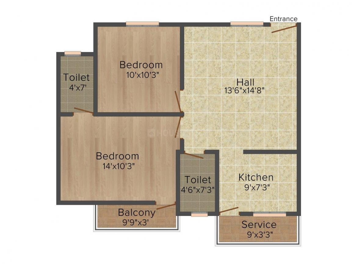 Floor Plan Image of 868 - 1390 Sq.ft 2 BHK Apartment for buy in Subham Anandham