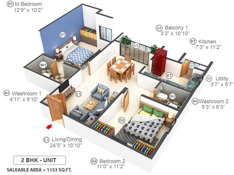 Adroit Fortune Floor Plan: 2 BHK Unit with Built up area of 1153 sq.ft 1