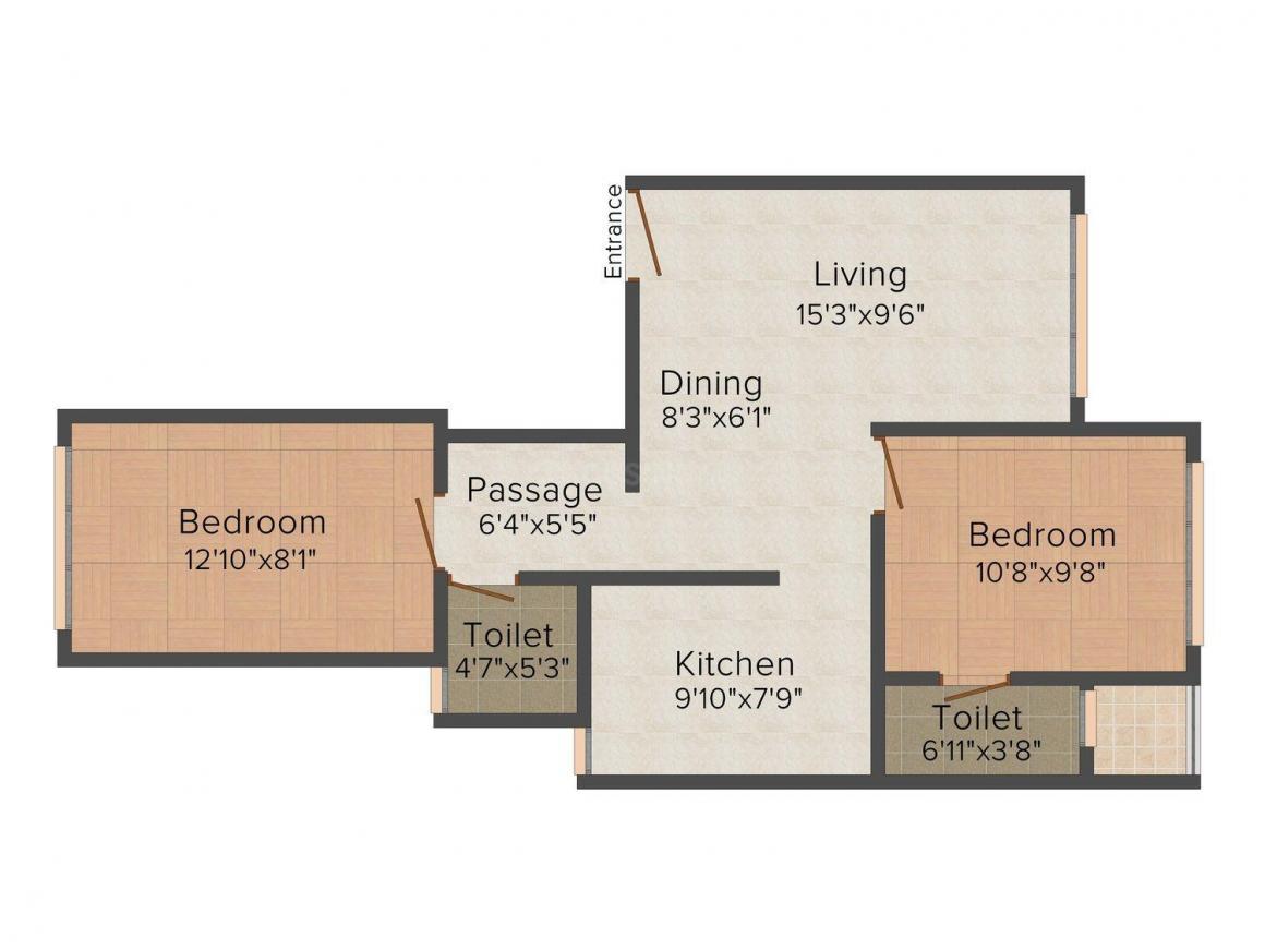 Floor Plan Image of 650.0 - 970.0 Sq.ft 1 BHK Apartment for buy in Gorai Mitasu