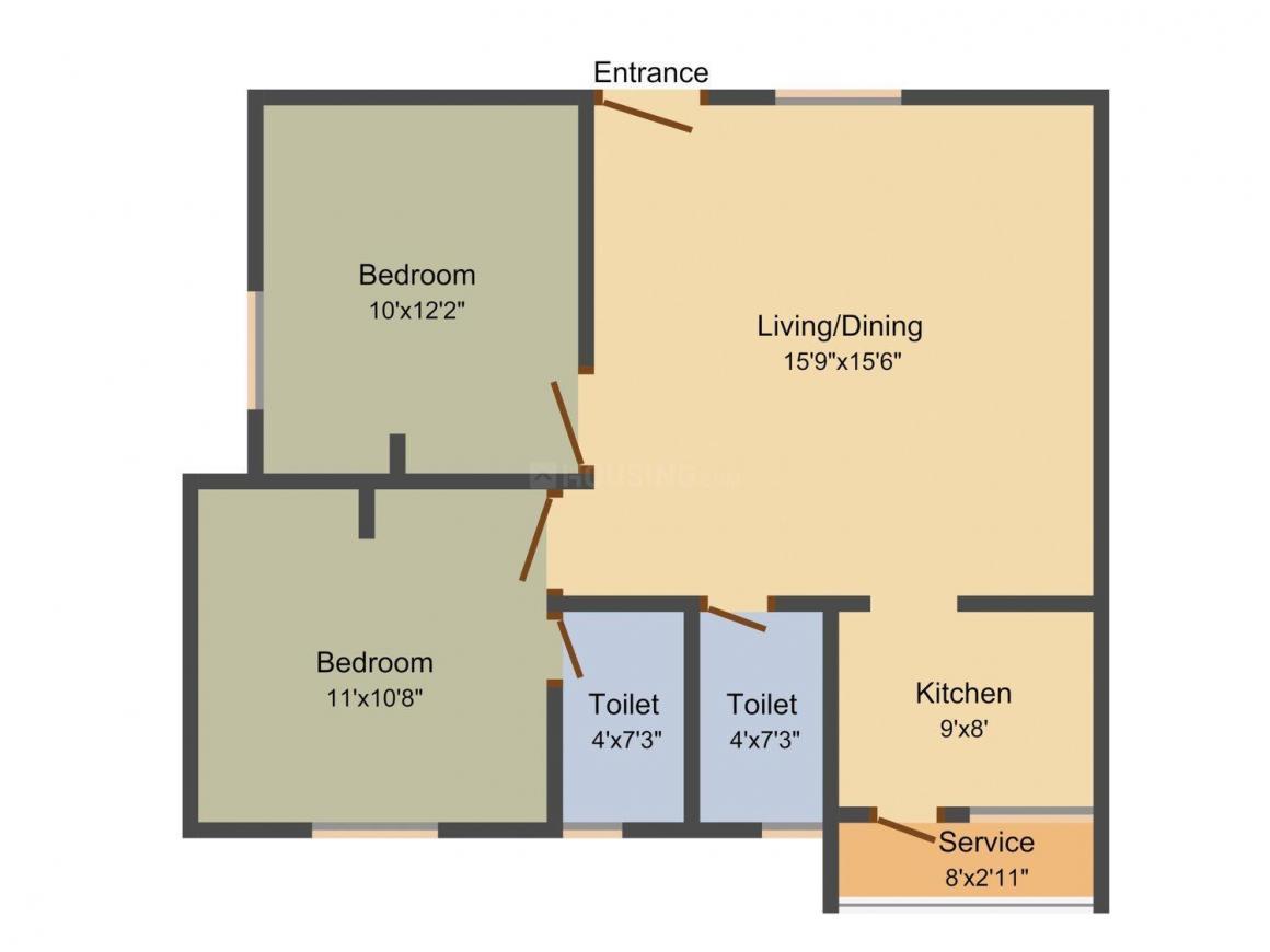 Abiraami Garden Floor Plan: 2 BHK Unit with Built up area of 845 sq.ft 2
