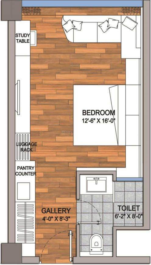 AIPL Joy Street Floor Plan: 1 BHK Unit with Built up area of 672 sq.ft 1