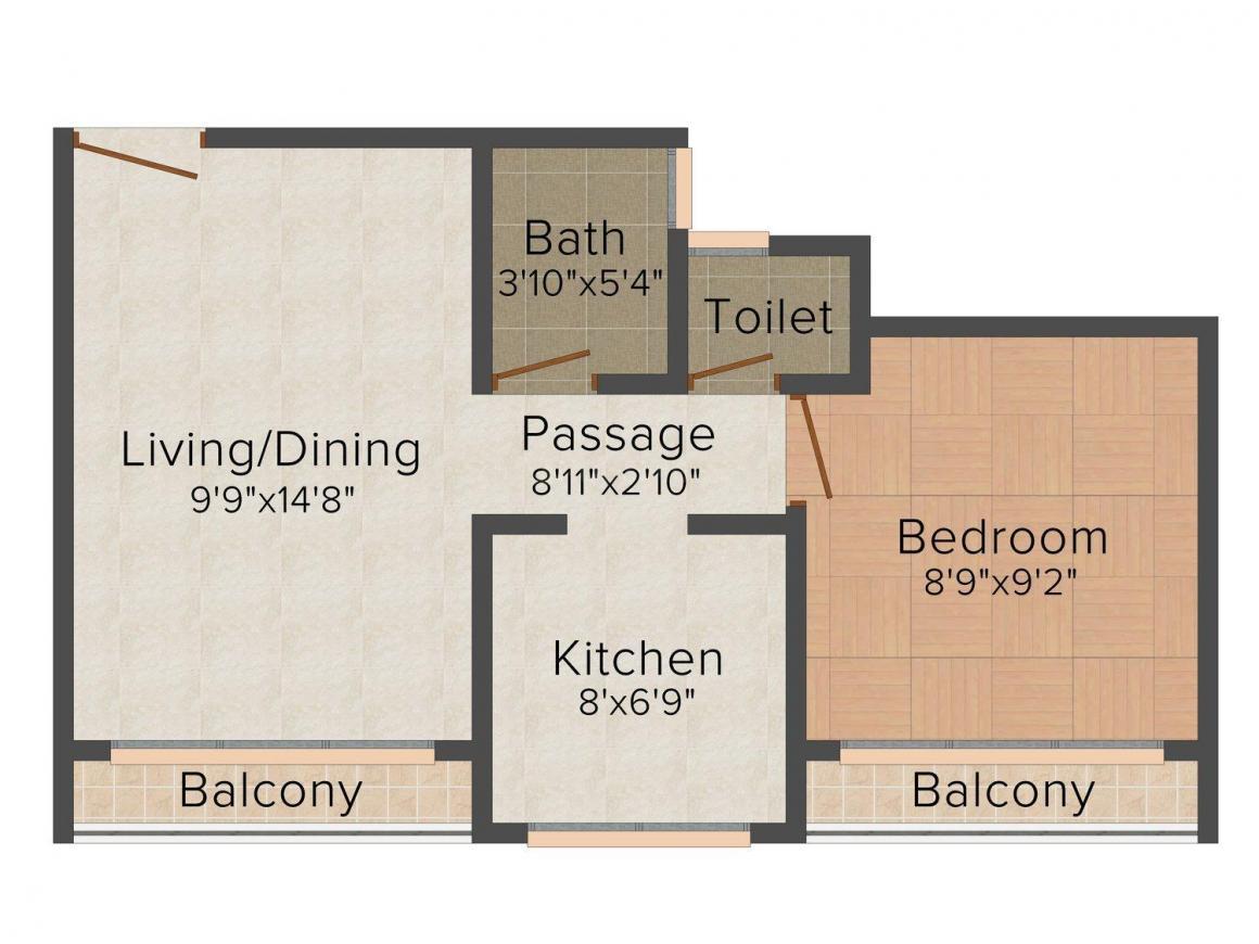 Swami Samarth Shree Shiv Samarth Verbena Floor Plan: 1 BHK Unit with Built up area of 550 sq.ft 1
