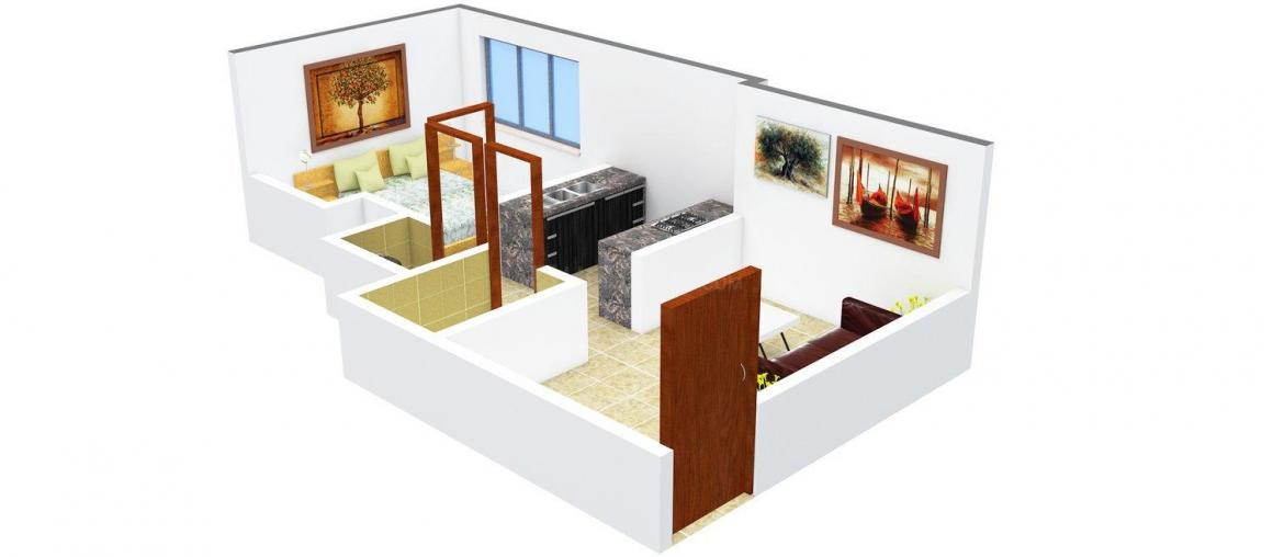 Floor Plan Image of 0 - 570.0 Sq.ft 1 BHK Apartment for buy in Parasnath Township Bldg no. 4