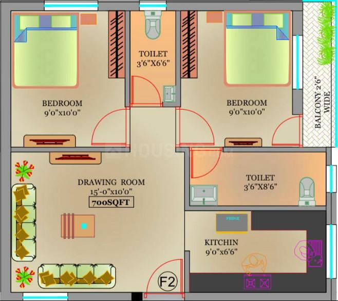 Devi Velavan Floor Plan: 2 BHK Unit with Built up area of 700 sq.ft 1