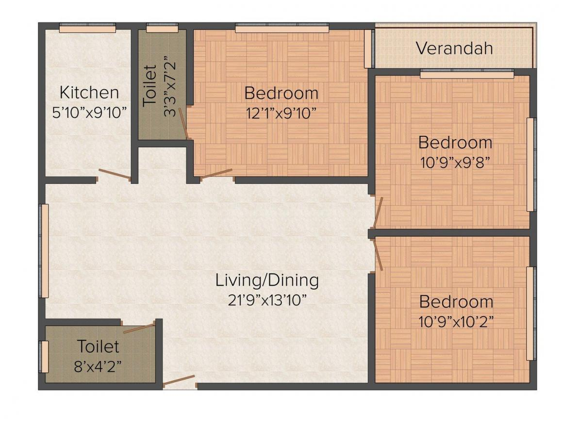 Floor Plan Image of 0 - 1215.0 Sq.ft 3 BHK Apartment for buy in Renu Villa