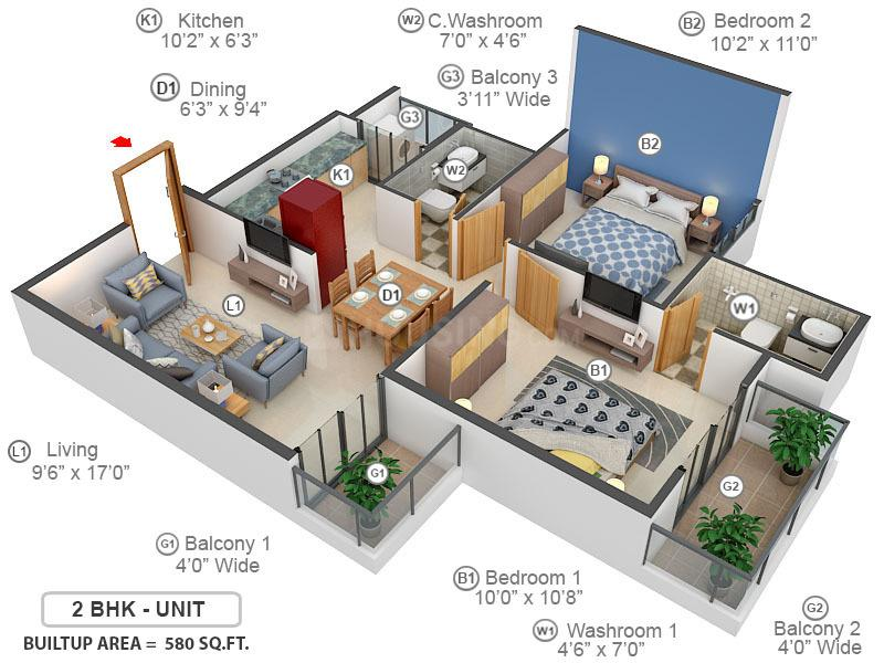 Signature Global The Millennia 3 Floor Plan: 2 BHK Unit with Built up area of 580 sq.ft 1