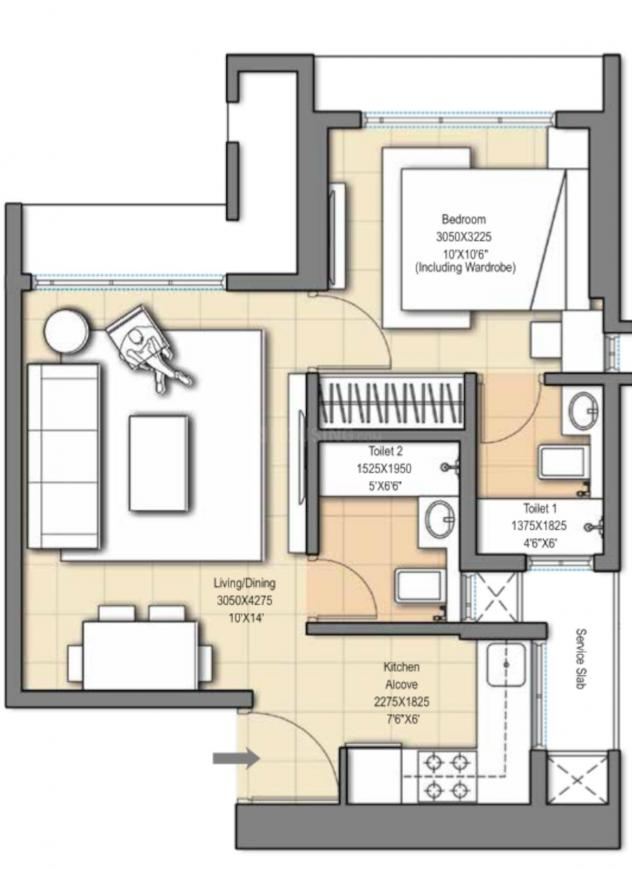 Sheth Auris Ilaria Tower A Floor Plan: 1 BHK Unit with Built up area of 358 sq.ft 1
