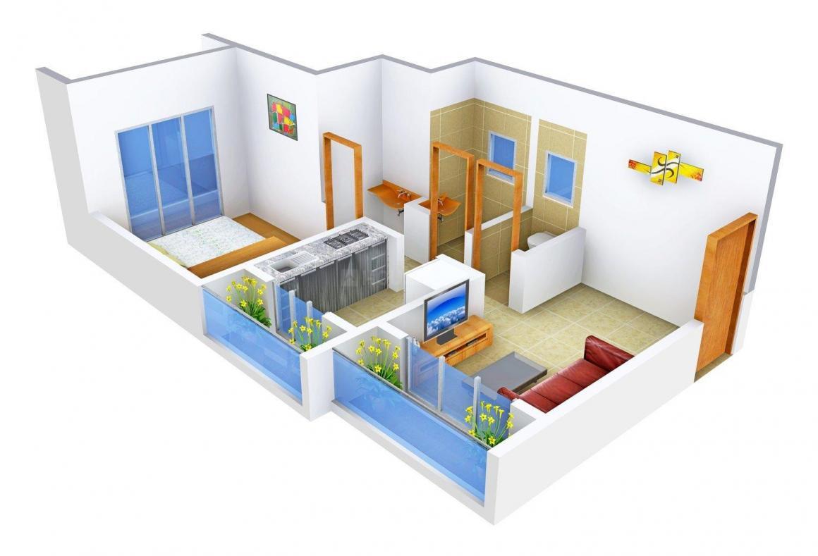 Floor Plan Image of 611 - 1031 Sq.ft 1 BHK Apartment for buy in Vinayak Kashi Niwas