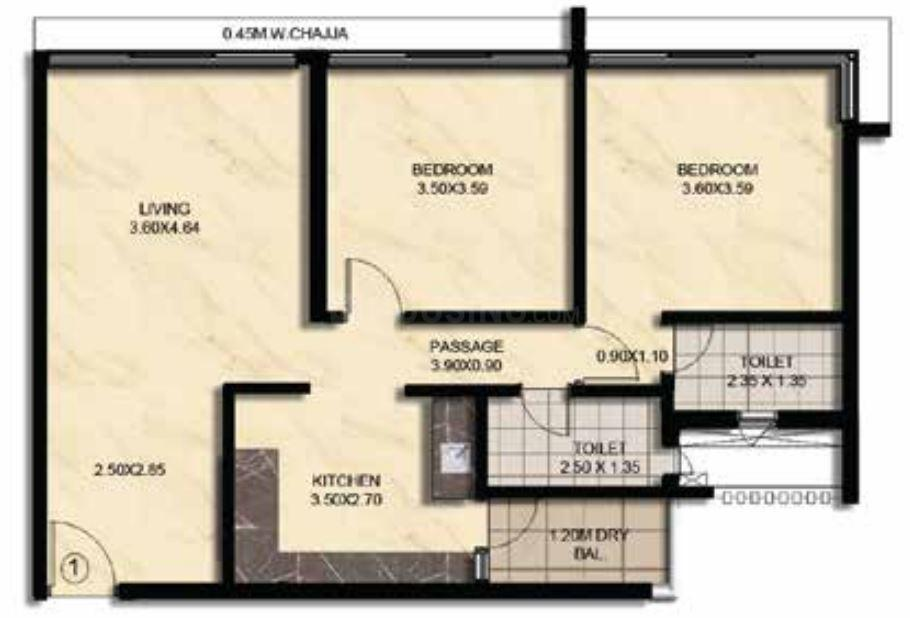 Verona Floor Plan: 2 BHK Unit with Built up area of 75.44 sq.mt 1
