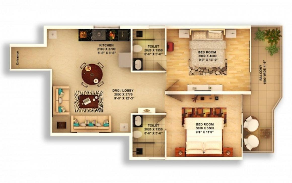 Pyramid Urban 67A Floor Plan: 2 BHK Unit with Built up area of 678 sq.ft 1