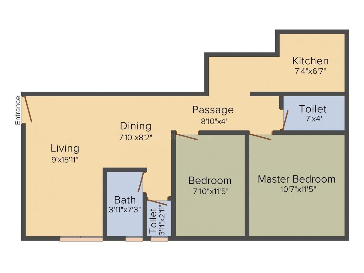 Floor Plan Image of 0 - 750.0 Sq.ft 2 BHK Apartment for buy in Perfect Dhawalgiri Apartment