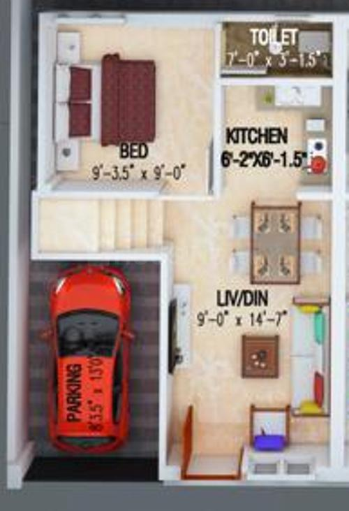 Viva Varsha Floor Plan: 3 BHK Unit with Built up area of 1100 sq.ft 1