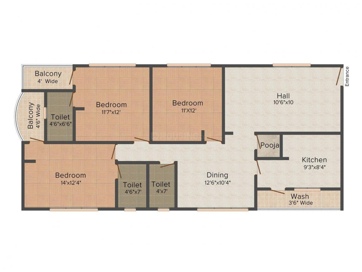Floor Plan Image of 1431 - 1660 Sq.ft 3 BHK Apartment for buy in PN Aabharana
