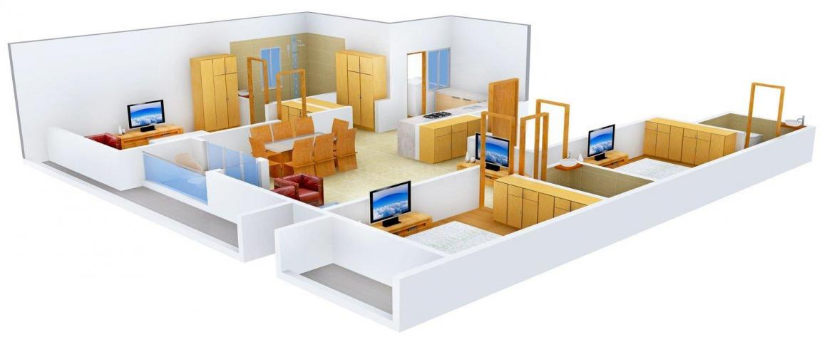 Signature The Bliss Floor Plan: 3 BHK Unit with Built up area of 2100 sq.ft 1