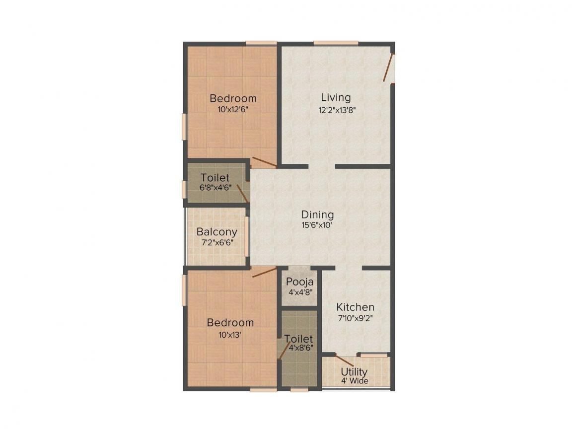 Floor Plan Image of 1130.0 - 1430.0 Sq.ft 2 BHK Apartment for buy in Dhyanish Lake Front - I