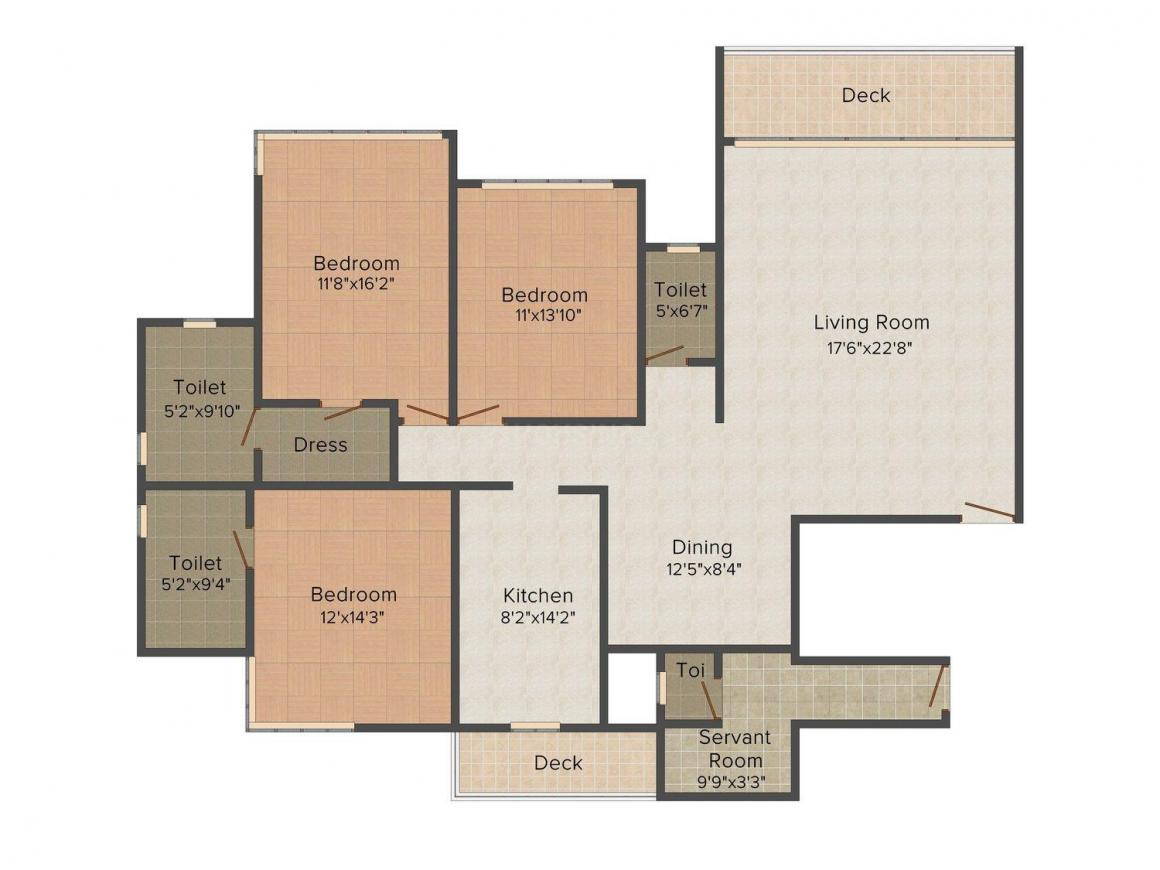 Floor Plan Image of 3142.0 - 3883.0 Sq.ft 3 BHK Apartment for buy in Prem Parorch