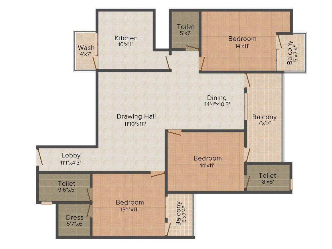 Floor Plan Image of 1197.0 - 1412.0 Sq.ft 3 BHK Apartment for buy in ARG Murli Heights
