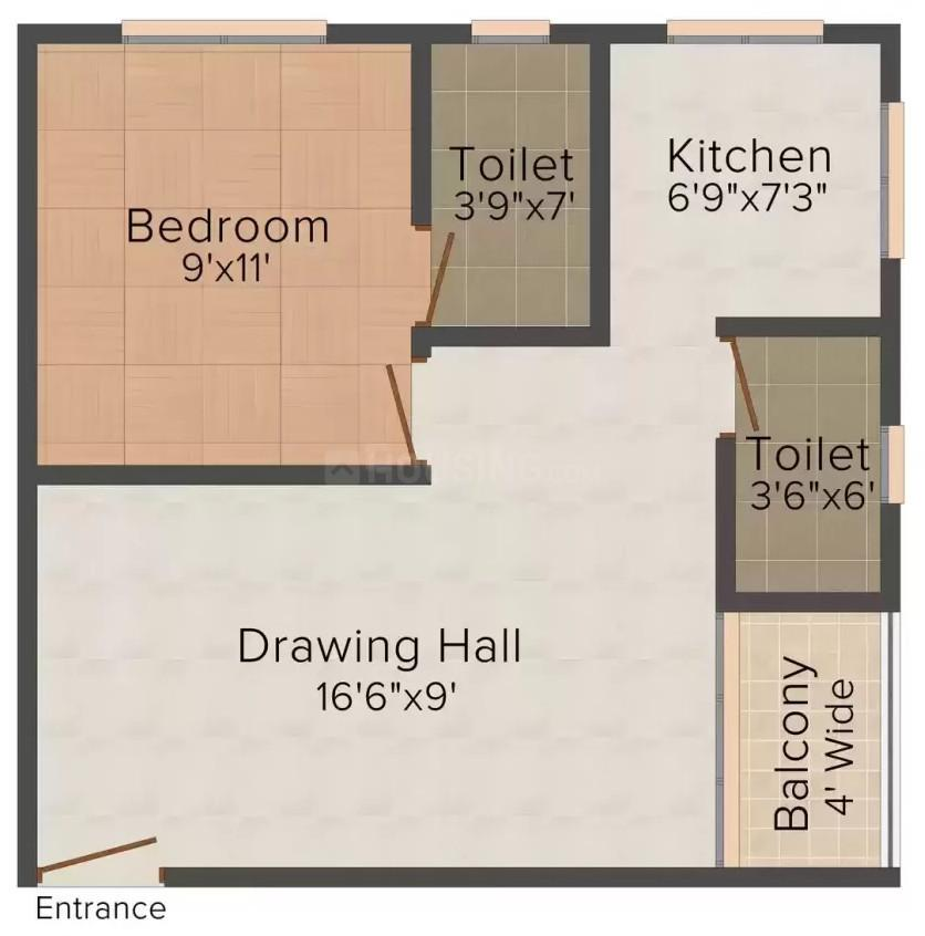 Dhruv Paradise Floor Plan: 1 BHK Unit with Built up area of 460 sq.ft 1