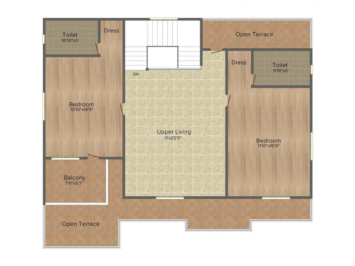 Mather Metro View Floor Plan: 4 BHK Unit with Built up area of 2300 sq.ft 4