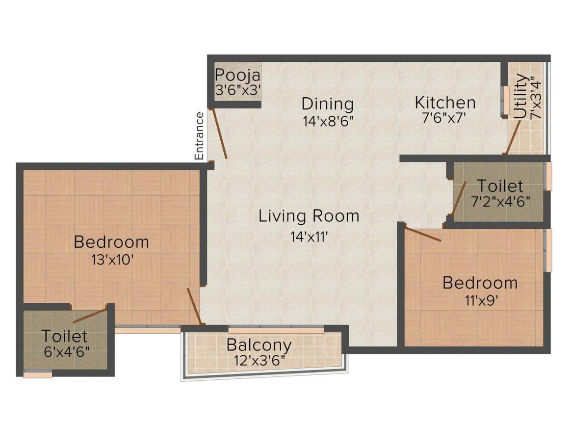 Achyuth Rajeshwari Pearl Floor Plan: 2 BHK Unit with Built up area of 1008 sq.ft 1