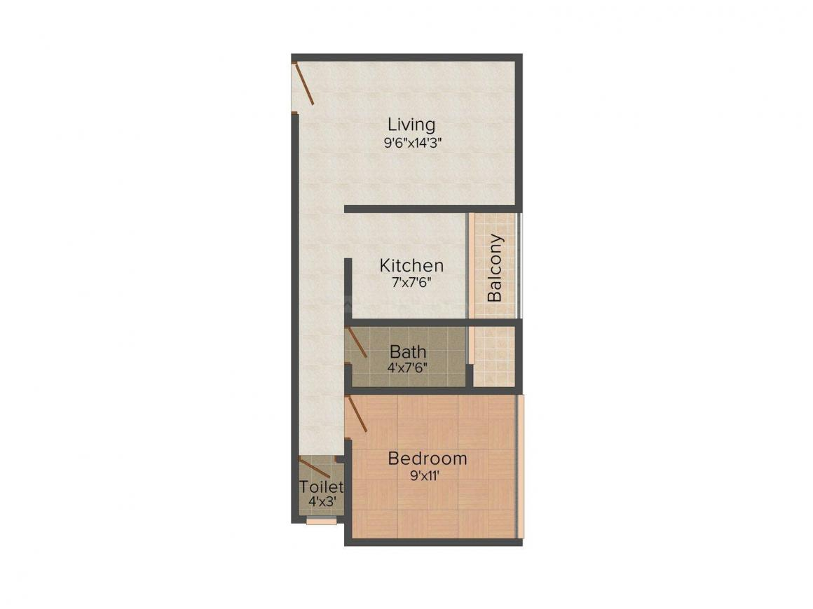 Floor Plan Image of 565 - 840 Sq.ft 1 BHK Apartment for buy in Shree Krupa Residency