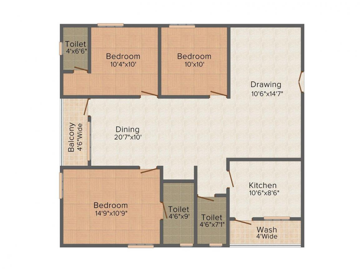 Floor Plan Image of 0 - 1515.0 Sq.ft 3 BHK Apartment for buy in Swathi Enclave