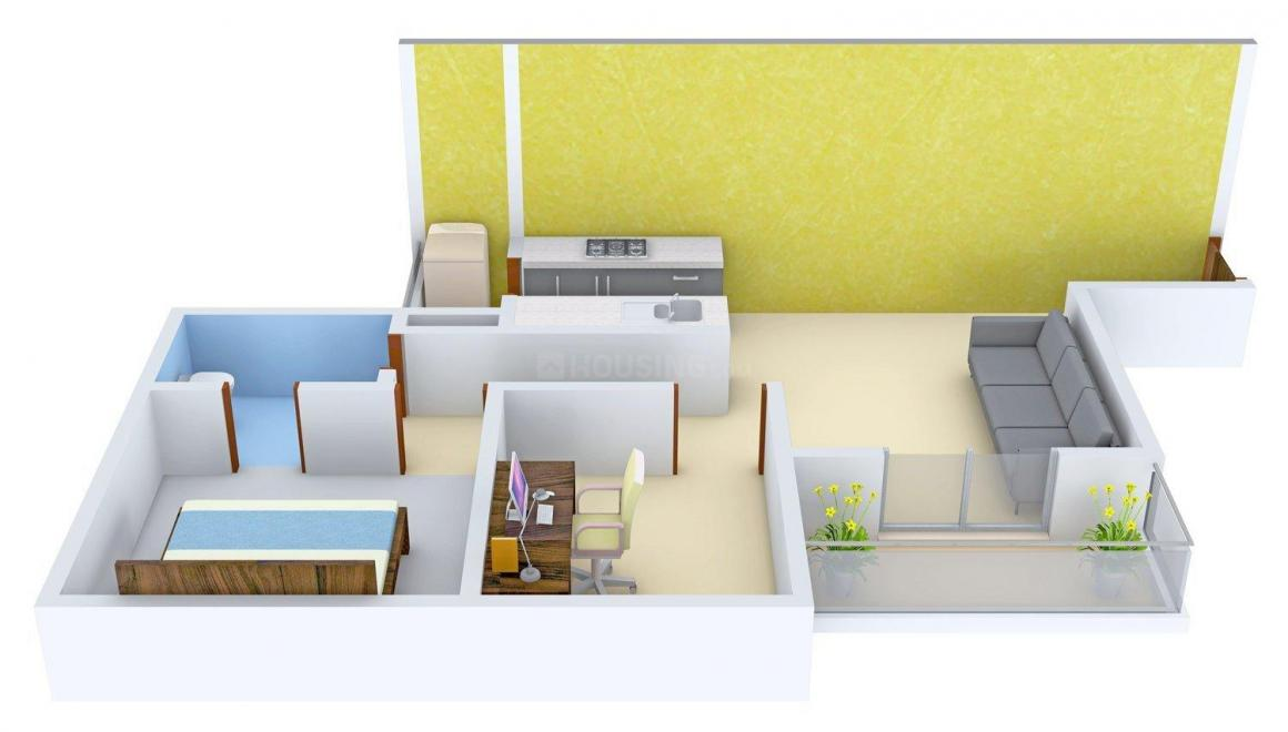 Floor Plan Image of 497 - 645 Sq.ft 1.5 BHK Apartment for buy in The Millennia