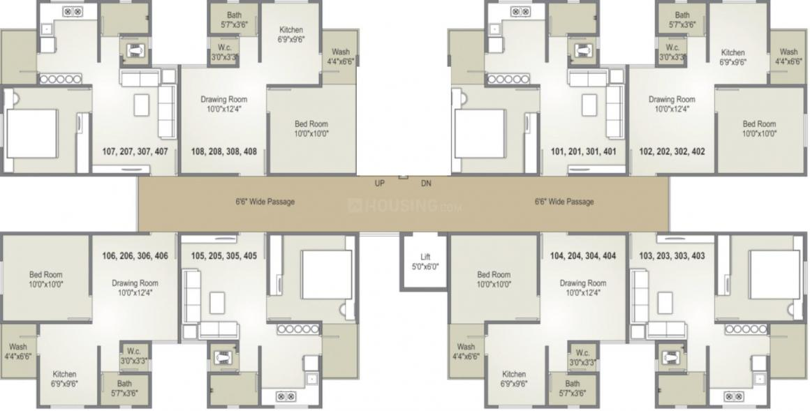Navdurga Nilkanth Residency Floor Plan: 1 BHK Unit with Built up area of 342 sq.ft 1