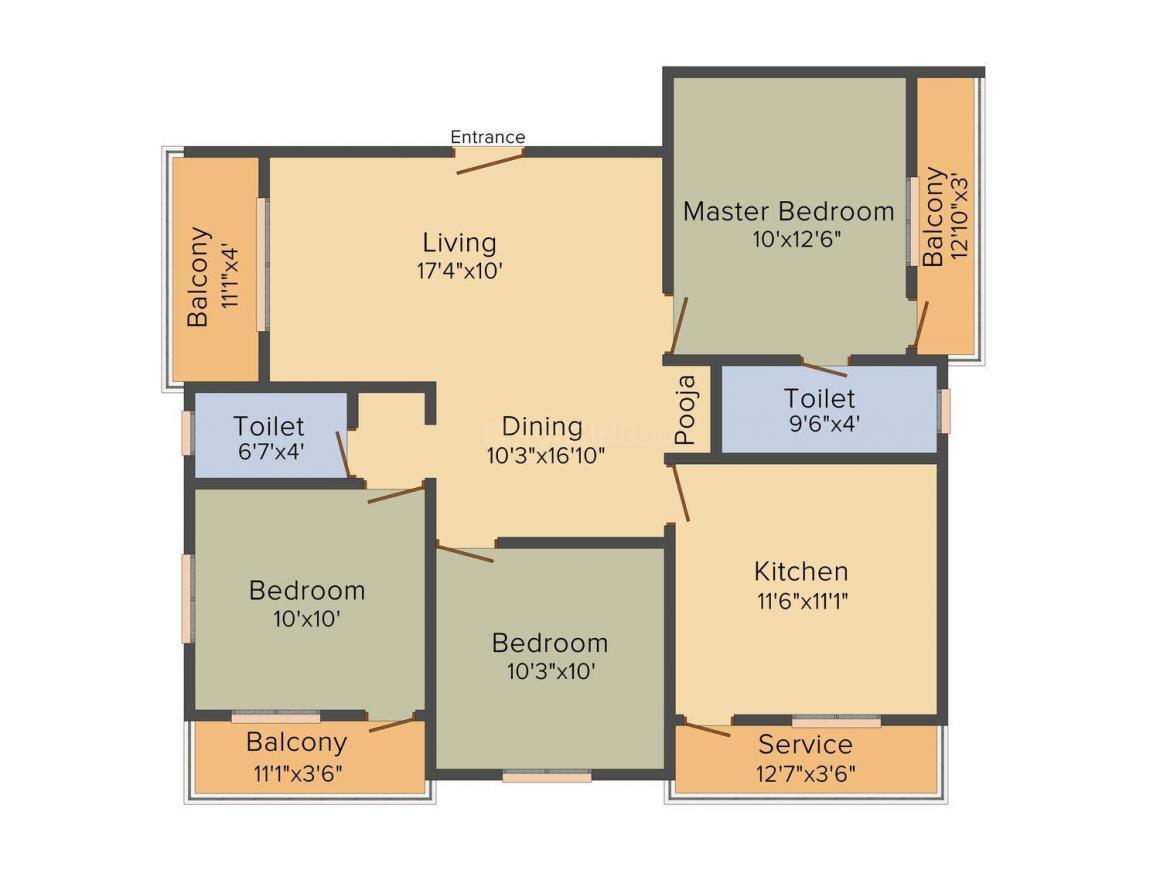 Poomalai Krishnaashree Floor Plan: 3 BHK Unit with Built up area of 1274 sq.ft 1