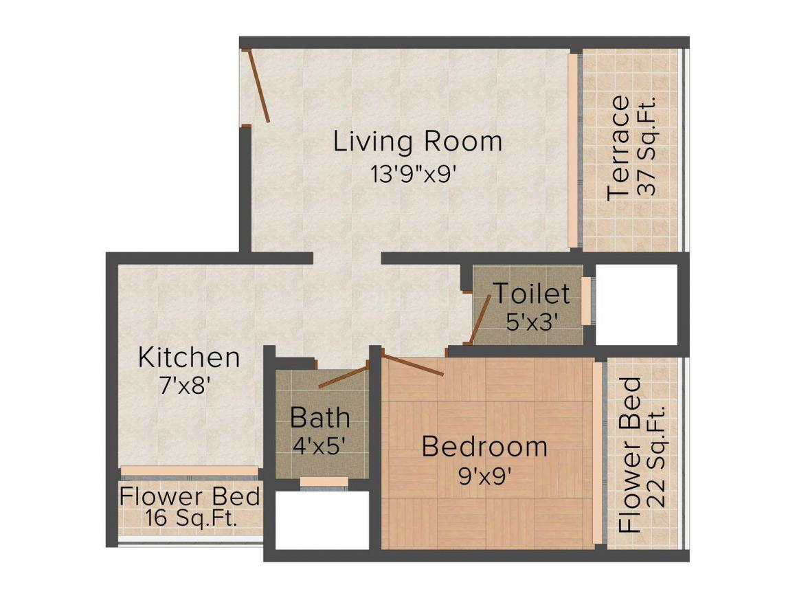 Floor Plan Image of 0 - 685.0 Sq.ft 1 BHK Apartment for buy in Shivalay Crystal Plaza