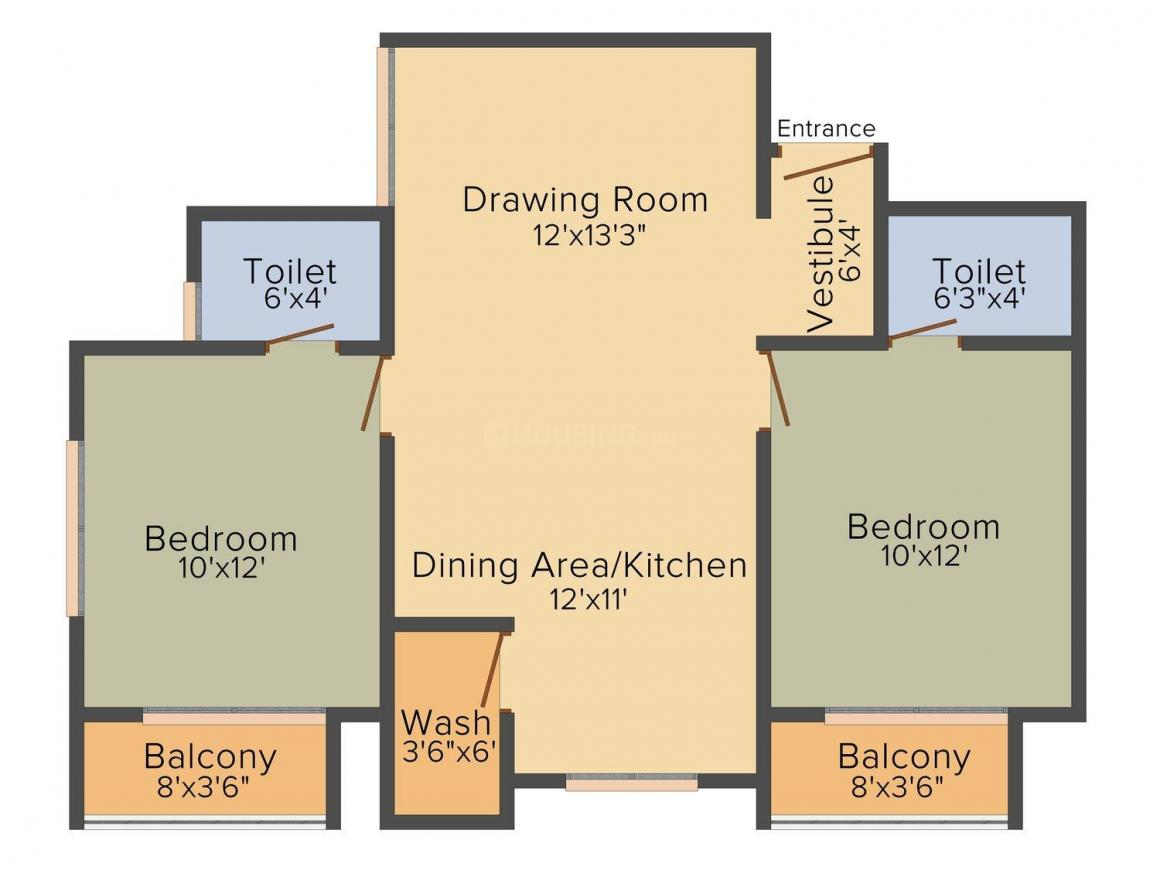 Unique Aashiyana Floor Plan: 2 BHK Unit with Built up area of 1179 sq.ft 1