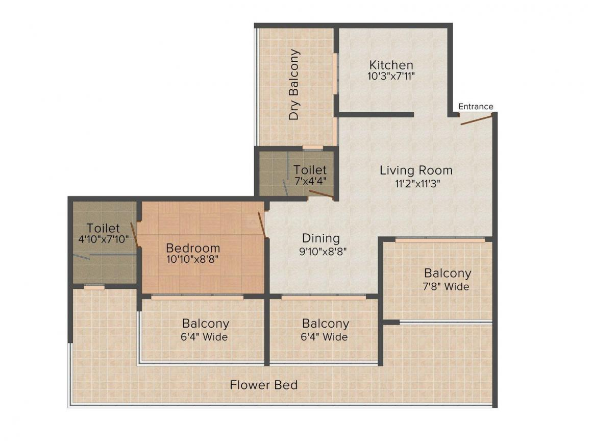 Floor Plan Image of 0 - 455 Sq.ft 1 BHK Apartment for buy in Ajmera Heights