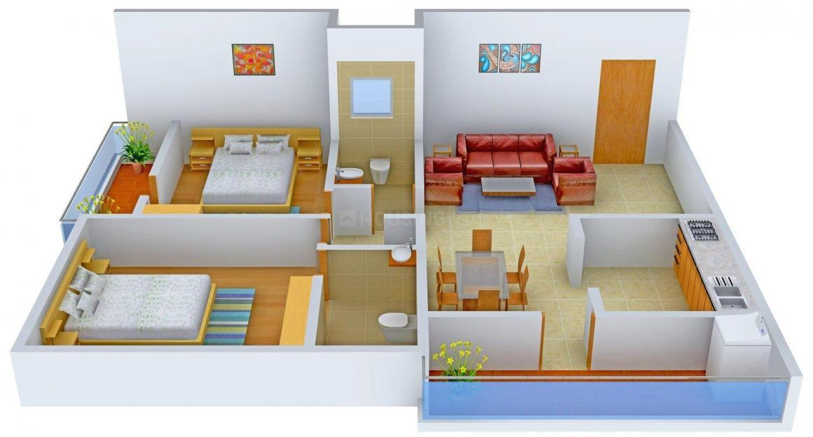Floor Plan Image of 0 - 1055 Sq.ft 2 BHK Apartment for buy in Akshaya Apartment