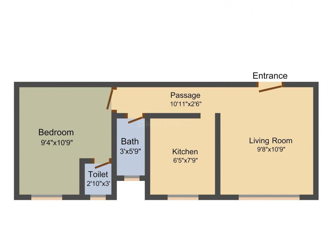 Floor Plan Image of 282 - 465 Sq.ft 1 RK Apartment for buy in Space Thakkar Complex