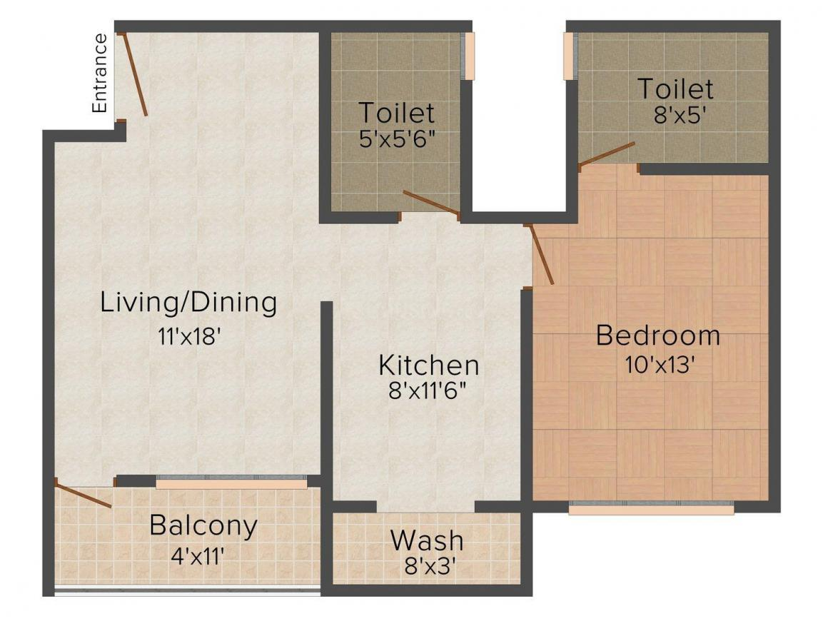 Floor Plan Image of 600 - 914 Sq.ft 1 BHK Apartment for buy in Knchan Camellia
