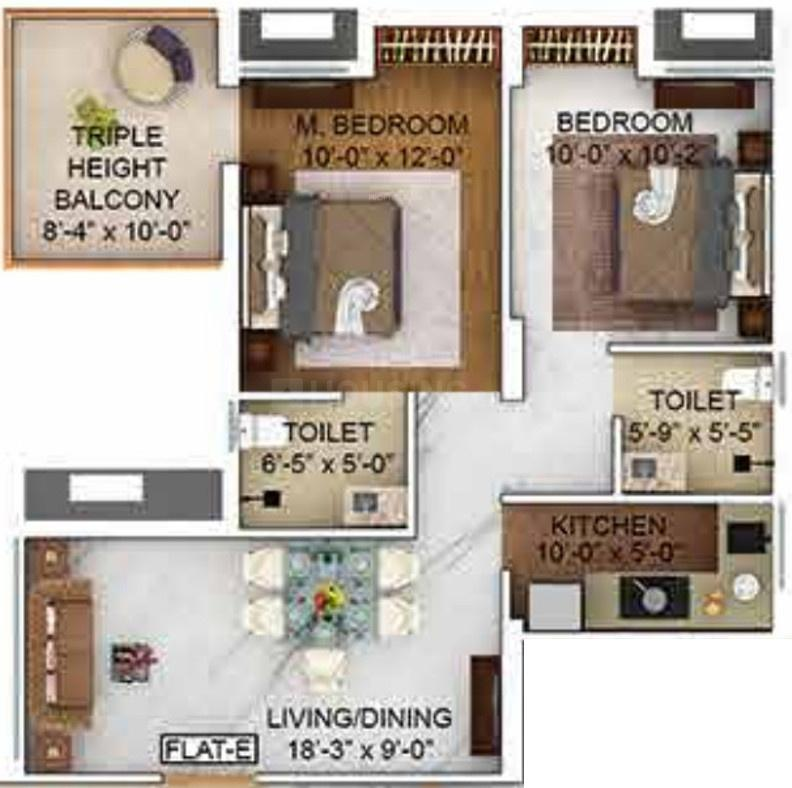 Merlin The One Floor Plan: 2 BHK Unit with Built up area of 694 sq.ft 1