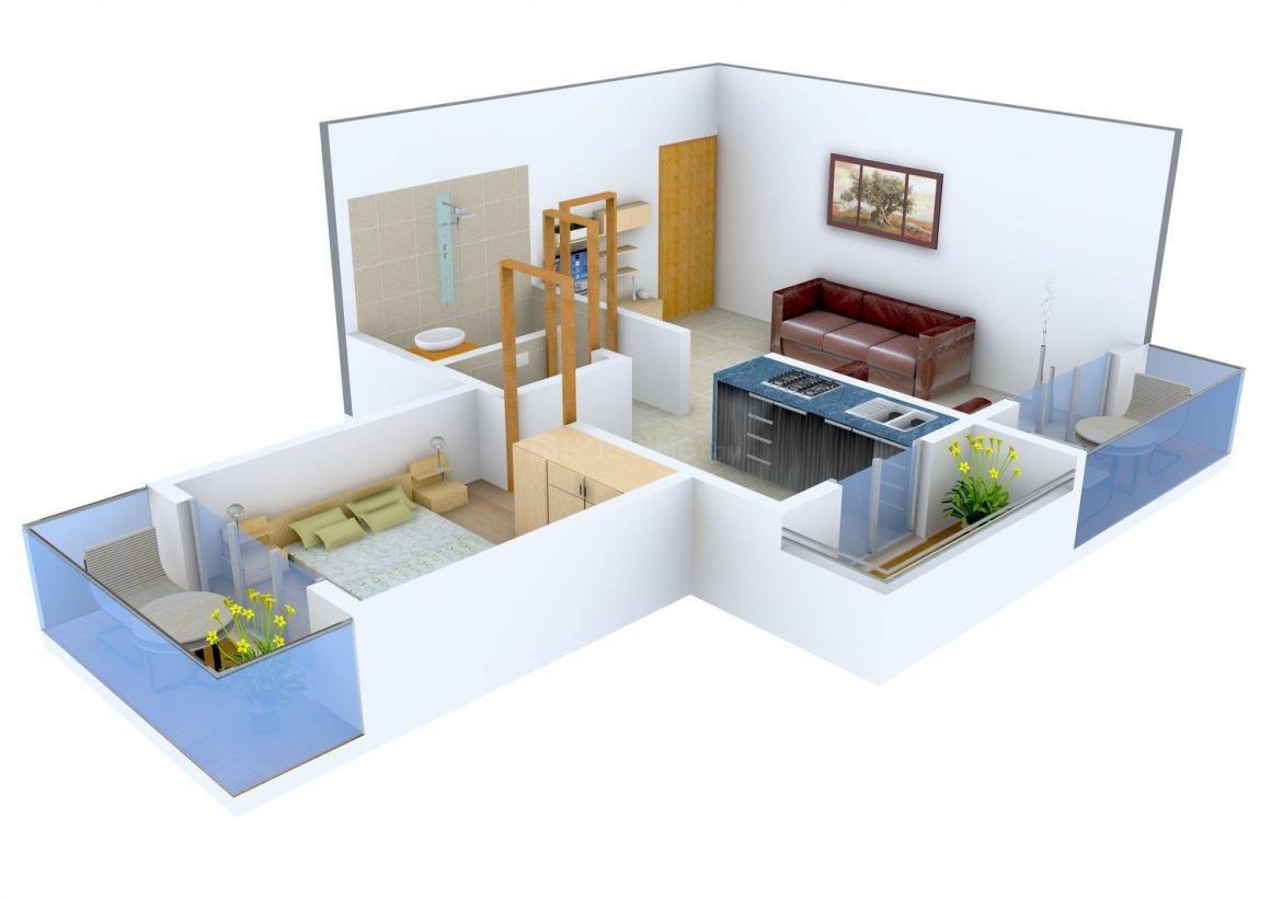 Floor Plan Image of 410.0 - 520.0 Sq.ft 1 BHK Apartment for buy in Shivam Regency