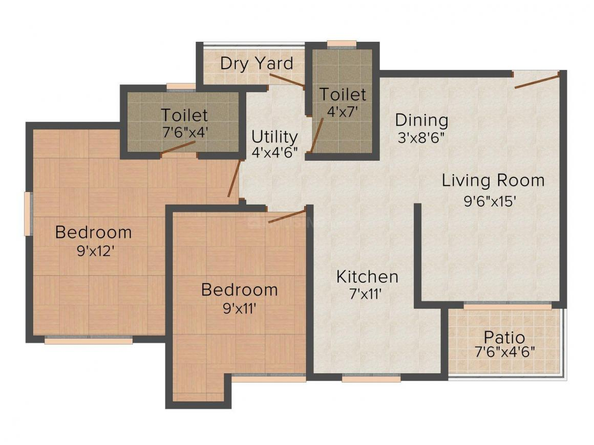 Floor Plan Image of 0 - 660.0 Sq.ft 2 BHK Apartment for buy in Puraniks Capitol