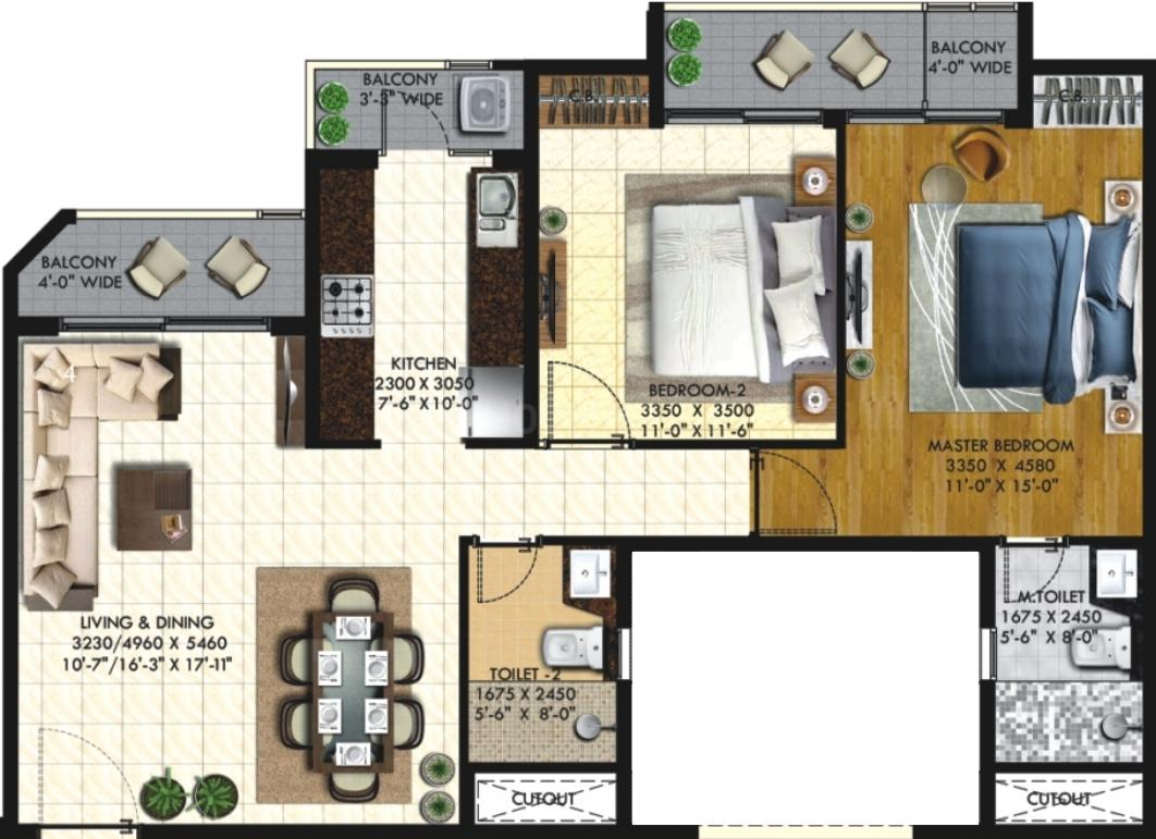 Rishita Mulberry Heights Phase 1 Floor Plan: 2 BHK Unit with Built up area of 807 sq.ft 1