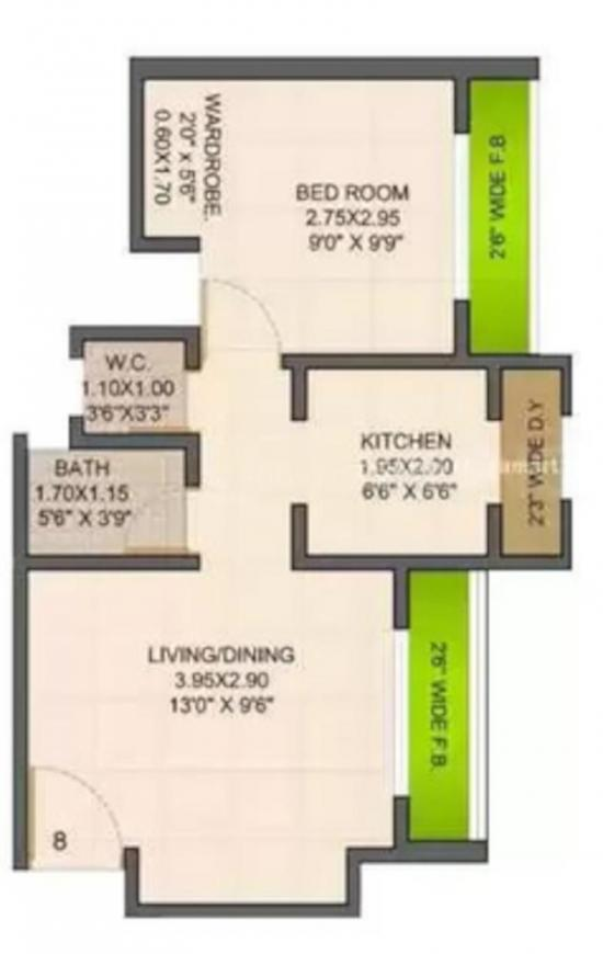 Raunak Bliss Phase A Floor Plan: 1 BHK Unit with Built up area of 425 sq.ft 1