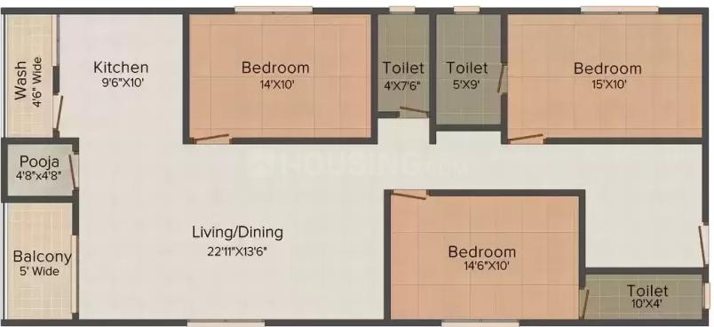 S V S S Niwas Floor Plan: 3 BHK Unit with Built up area of 1740 sq.ft 1