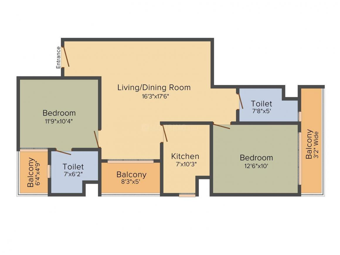Floor Plan Image of 1190 - 1680 Sq.ft 2 BHK Apartment for buy in APS Shilpayan K7