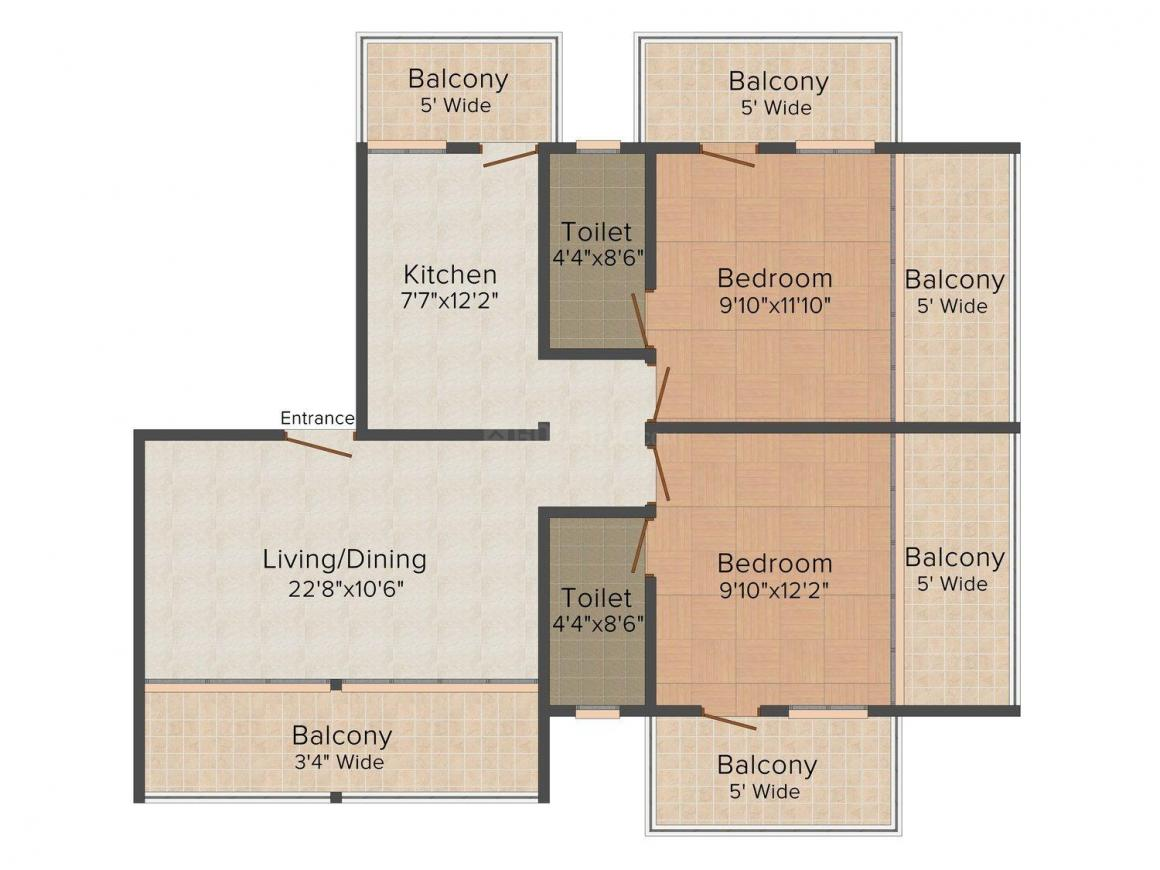 Floor Plan Image of 0 - 1750.0 Sq.ft 2 BHK Apartment for buy in Rajdeep-The corner stone apartment