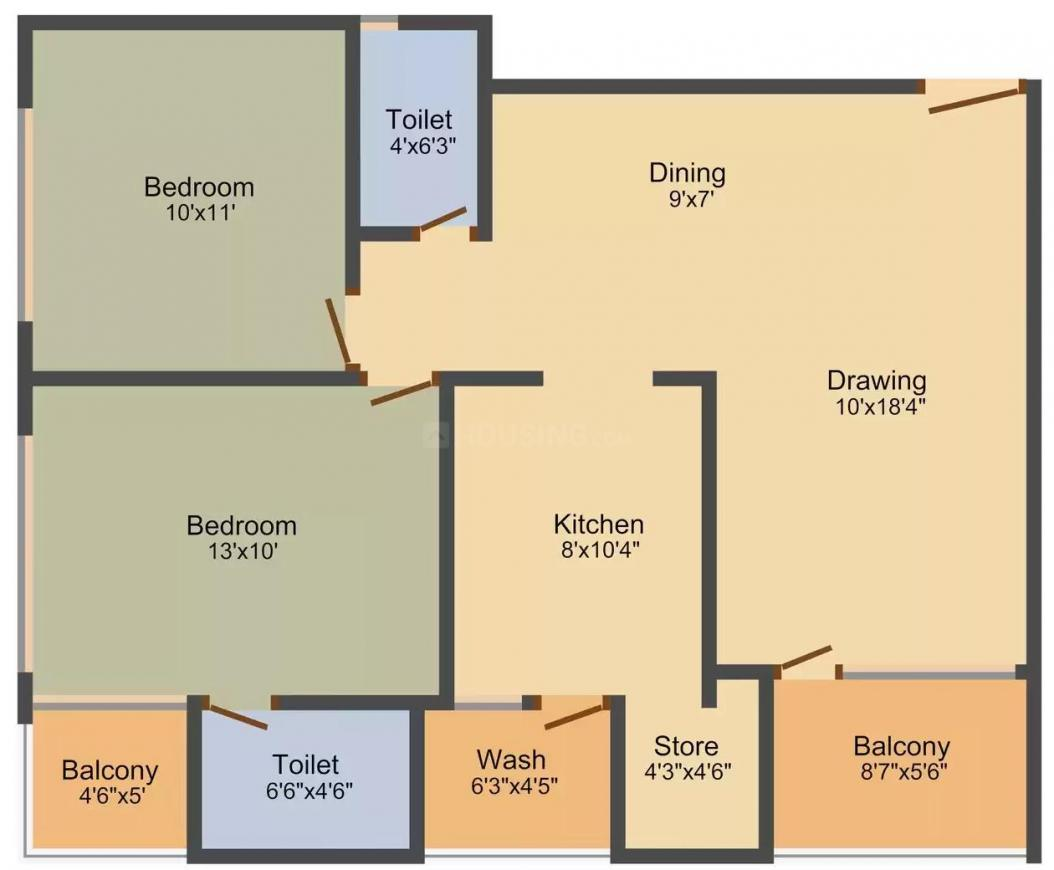 Rang Seattle Park Floor Plan: 2 BHK Unit with Built up area of 1413 sq.ft 1