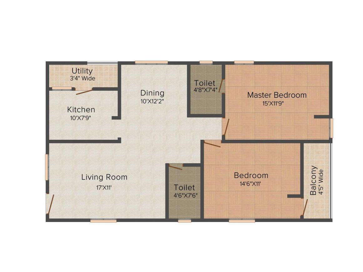 Floor Plan Image of 1295.0 - 1835.0 Sq.ft 2 BHK Apartment for buy in Pratyusha Aksharas Meadows